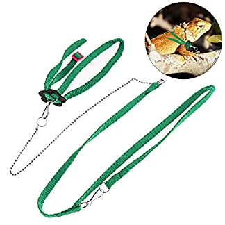 UEETEK 1.2M Adjustable Reptile Lizard Harness Leash for Outdoor Walk (Green) 2