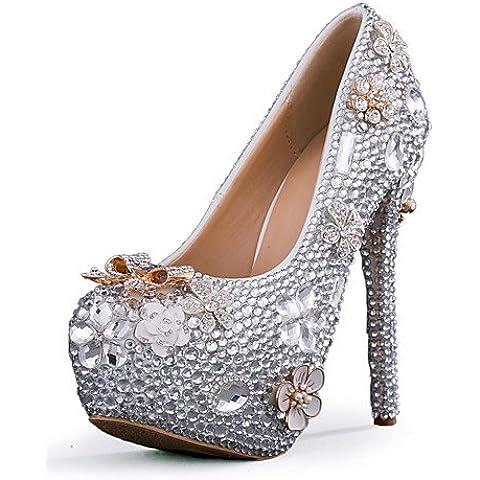 LvYuan-ggx delle donne scarpe tacco stiletto con tacco matrimonio / partito&?sera / vestito d'argento , 5in & over-silver