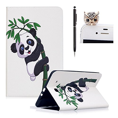 "Price comparison product image For Samsung Galaxy Tab E 9.6"" SM-T560 / T561 / T565 Case, SKYXD Cute Pattern Serie Flip Folio PU Leather Wallet Bookstyle Case Cover+ Stylus + Dust Plug, Panda Bamboo"