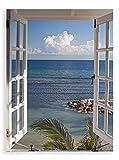 Artland Qualitätsbilder I Glasbilder Deko Glas Bilder 45 x 60 cm Wandbild Fensterblick Fotografie Blau G3FP Fenster Zum Paradies