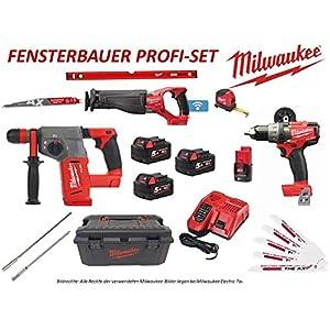 Milwaukee Fensterbauer Profi Set M18 Säbelsäge Bohrschrauber Kombihammer Akkus + viel Zubehör Werkzeugbox Fenstermontage…