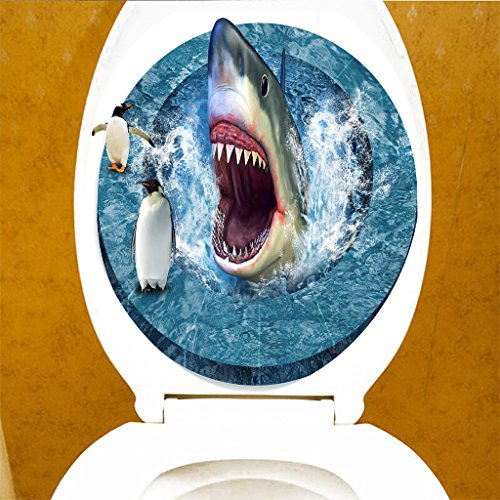 SunniMix Kreative 3D Tattoo Sticker Aufkleber WC Sitz Toilette Klodeckel Toilettendeckel, Muster Auswählbar - Haifisch-Pinguin (Pinguin-toiletten)