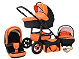 Lux4Kids Future Kinderwagen Komplettset (Autositz & Adapter, Regenschutz, Moskitonetz, Schwenkräder) 04 Orange & Schwarz