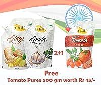 La Faire Ginger Paste, Garlic Paste Free Tomato Puree 500 gm Each