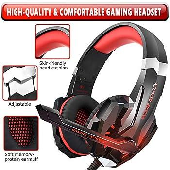 Insmart PS4 Gaming Headset, pieghevole over-ear Gaming cuffie con microfono a cancellazione di rumore e controllo del volume per PC laptop Mac Ninten