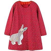 ASHOP Vestidos de Princesa 2019 Tutú Faldes de Fiesta Conejo Dot Cartoon Vestido T-Shirt Manga Larga Algodón Casual Niñas 1-6 Años