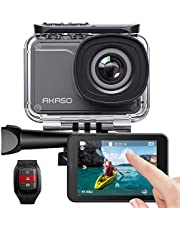 AKASO Native 4K30fps Touch Screen Action Camera with EIS Adjustable View Angle 40m Waterproof Underwater Camera Remote Control 4 X Zoom WiFi Sports Camera with Helmet Accessories Kit