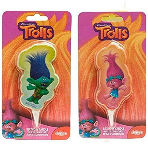 CAPRILO. Set de 2 Velas Infantisl Decorativas para Tartas Trolls. Disney. Juguetes y Regalos Fiestas de Cumpleaños, Bodas, Bautizos, Comuniones y Eventos.Decoración Original.