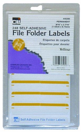 Charles Leonard INC. Datei Ordner Etiketten, 1,4x 8,7cm, gelb, 248/Box (45240)