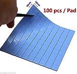 #4: Alcoa Prime 100Pcs 10X10x1MM Blue SMD DIP IC Chip Heatsink Thermal Paste Compounds Pad Blue