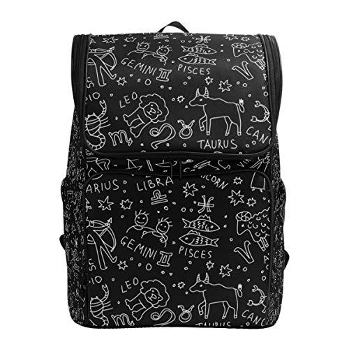Ahomy Schulranzen schwarz und weiß Sternzeichen-Symbole Wanderrucksack Cool Sport Rucksack Laptop Tasche Leichter Schulrucksack für Teenager Mädchen Jungen -