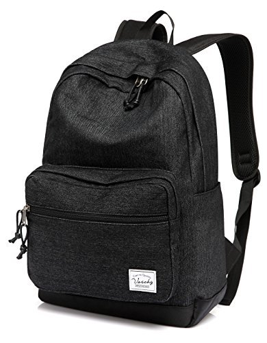 Vaschy Unisex Denim Schulrucksack 15.6 Zoll Laptop Reiserucksack mit wasserdichte Abdeckung -