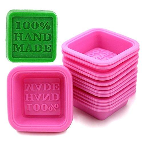 September Lot de 10 moules de cuisine en silicone en forme de savon estampillés « 100 % Handmade »
