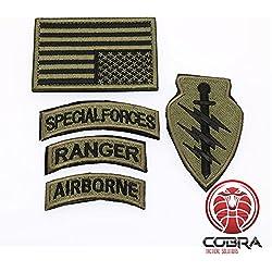 Cobra Tactical Solutions Conjunto de parche militar Fuerzas especiales Ranger Airborn con bandera EE. UU. Bronce y velcro