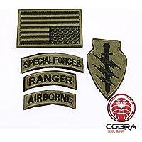 Cobra Tactical Solutions Conjunto de Parche Militar Fuerzas Especiales Ranger Airborne con Bandera EE. UU. Bronce y Velcro