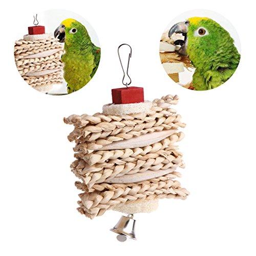 sunhoyu Vogelspielzeug für Papageien, Vogel Papagei Käfig Hängen Spielzeug ponge Teig Twist Kauen Spielzeug Mit Glocke