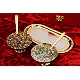 Crafticia Designer Silver And Golden Plated Brass Bowl With Spoon & Tray Set Of 5 Decorative Handicraft Gift Item Home Decor Showpiece