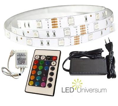 6 Meter RGB LED Streifen Set (30 LED/m, IP20) inkl. Controller, 24 Tasten Fernbedienung und 6 A Netzteil