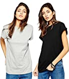 #5: Avaatar Women Half Sleeve T shirt Combo pack of 2 (Grey, Black)