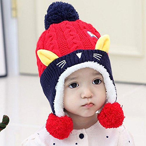 3884f7a36db 25% OFF on Generic Red   2017 New cat velvet children caps autumn and winter  baby wool hat baby knit hat cat velvet children caps on Amazon