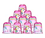 10pcs/Set Unicorn Bags for Unicorn Party Supplies Unicorn Drawstring Shoulder Backpack Bag Bulk for Girls Kids Children...