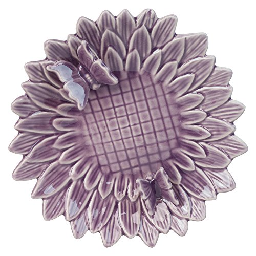 Vogeltränke oder Futterschale Schmetterling Design aus Keramik mit Lila Glasur