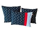 """TryPinky® Kissenbezug """" Anker auf Blau """" verschiedene Größpen 40 X 40 , 35 X 35 , 30 X 40 cm Baumwolle 100 % BW"""