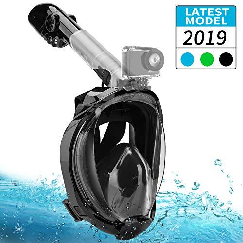 FLYTON Maschera Subacquea, Maschera da Snorkeling 180° Vista Panoramica Anti-Appannamento Anti Fuoriuscita con Cinghie Regolabili per Adulti e Bambini (Nero, S/M)