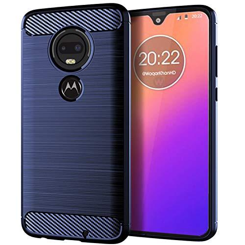 NEWZEROL Ersatz für Motorola Moto G7 Hülle [Slim-Fit] [Kratzschutz] [Stoßdämpfung] Brushed Grip Case Schutzhülle TPU Weiche Handyhülle-Blau [Lebenslange Ersatzgarantie]