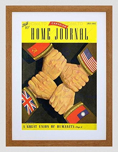 Preisvergleich Produktbild MAGAZINE COVER HOME JOURNAL CANADIAN ALLIES AGAINST AXIS FRAMED PRINT B12X6864