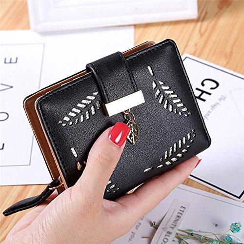 Custodie per tessere da viaggio, Kfnire raccoglitore frizione della borsa della moneta a due fogli tagliati di cuoio molle delle donne (nero) nero