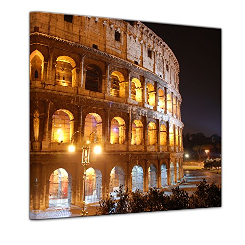 "Kunstdruck mit Winter SALE ""Kolosseum bei Nacht"" Bild auf Leinwand 40 x 40 cm - Leinwandbilder - Bilder als Leinwanddruck - Wandbild von Bilderdepot24 - Städte & Kulturen - Italien - Rom - beleuchtetes Kolosseum"