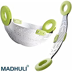 MADHULI Stainless Steel Food Grade 5 in 1 Collapsible Rice Collander (Flexible and retractable ) Fruit basket / Veg. Basket / Steamer / Rice Strainer / Washer Multi Utility