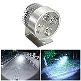 Audew LED Moto Phares Avant Lampe Headlight Spotlight Argent 12V 1000LM 6500K
