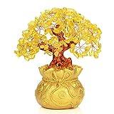Feng Shui Gelber Kristall Geldbaum in Geldbeutel Bonsai-Stil Dekoration für Wohlstand und Glück, Glas, Yellow, M