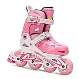 RBH Patines en línea de Regalo para el día del niño, tamaño de Zapato Ajustable Patines de Ruedas Sistema de Ruedas de Bloqueo Malla Transpirable Avanzada - Adecuado para Regalos de cumpleaños,Pink