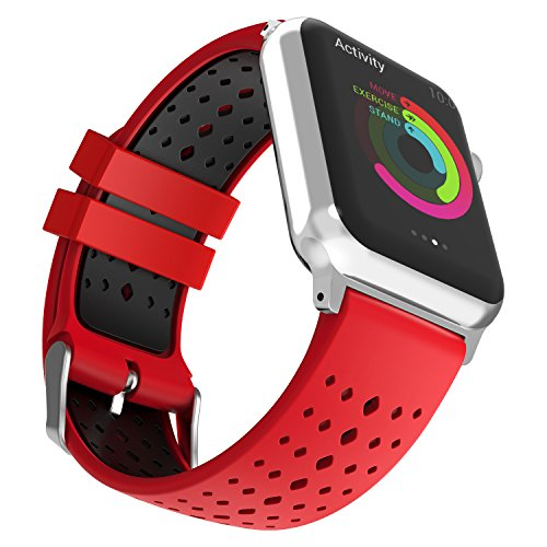 MoKo für Apple Watch 40mm / 38mm Series 4/3 / 2/1 Armband, Silikon Replacement Uhrenarmband Sportarmband Band Erstatzband mit Schließe für Apple Watch 40mm / 38mm Smartwatch, 110mm-220mm, Rot/Schwarz -