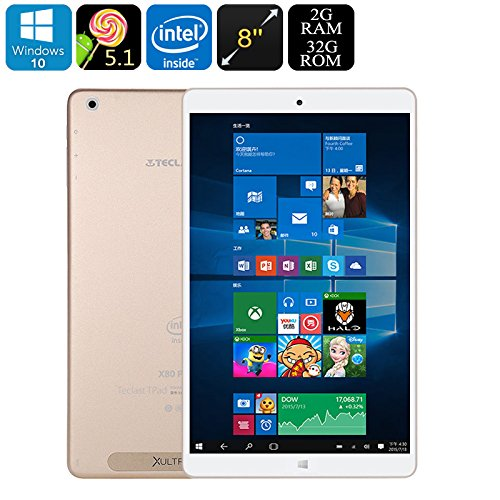 Generic Teclast X80 Power Dual-OS Tablet PC - Windows 10, Android 5.1, Quad-Core CPU, Google Play, HDMI Out, 2GB RAM, 8-Inch FHD Display