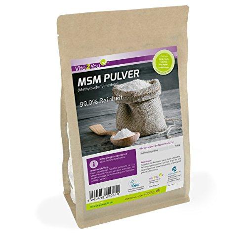 MSM Pulver 1000g - (Methylsulfonylmethan) 99,9% Reinheit - Meshfaktor 40-80 - Organischer Schwefel - Premium Qualität