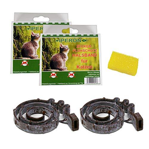 Lyra Pet 2 x Iperon Bio Flohhalsband Katze 38 cm Zeckenhalsband+ Insektenschwamm