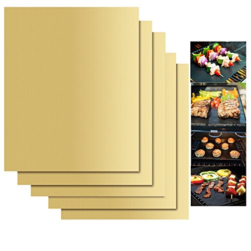 Gold-porzellan-fliese (KINGCOO 5 Stücke BBQ Grillmatte Kochen Matte, Wiederverwendbare Antihaft Backmatte Ofen Liner für Kohle,Gas Grillen Herd Kochen und Backen 40x33 cm (Gold))