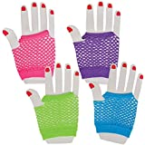 Pair of wrist length fingerless Goth Net Gloves Brand new item in bag,Available in 5 colours .One size stretchy . (Purple)