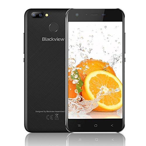 """Blackview A7 Pro Smartphone Dual Sim 4G da 16GB, 32GB Espandibili, Batteria 2800mAh, Doppia Fotocamera 8 e 5MP, 5.0"""" HD Cellulari in Offerta, Android 7.0 Cellulare, WiFi/Fingerprint/GPS-Nero [Italia]"""