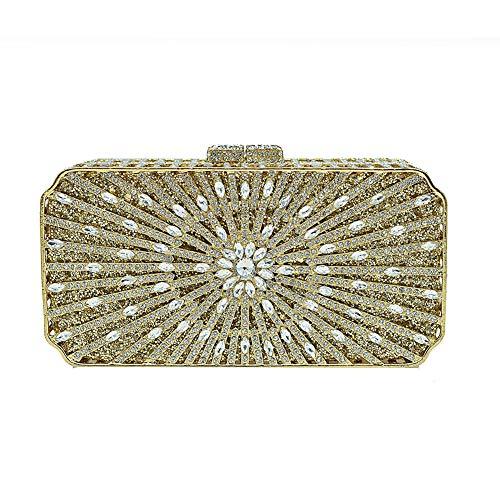 Förmige Handtasche (KOKR Umschlag-Förmige Handtasche, Womens Schöne Sparkly Goldenen Kristall Hochzeit Abendgesellschaft Clutch Bag Für Damen)