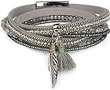 styleBREAKER Wickelarmband mit Strass und Feder Anhänger mit Quaste, Perlen, Kette, Magnetverschluss Armband, Damen 05040062, Farbe:Hellgrau