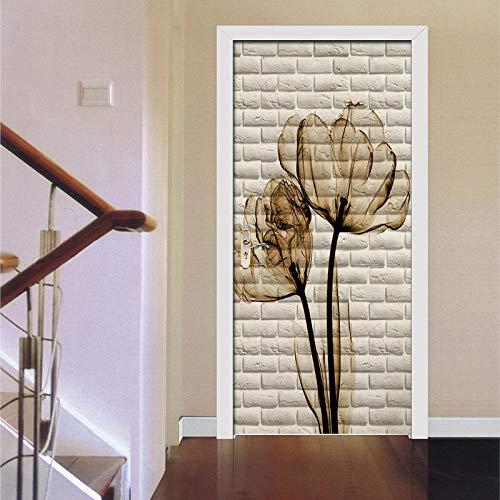 3D Weiße Wand Tulpe Tür Aufkleber Selbstklebende Papierdekoration 38,5 * 200Cm2 Stück -