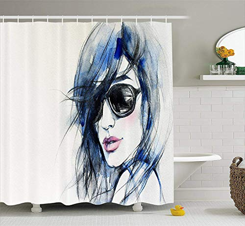 Female Rod Extension (ewtretr Abstract Shower Curtain, Watercolor Woman with Sunglasses and Blue Hair Portrait Hand Drawn Picture, 60 * 72inch, Coconut Blue and Black Beautiful)