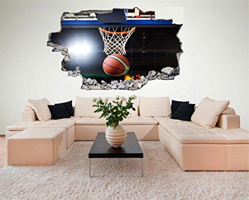 Basketball 3D Look Wandtattoo 70 x 115 cm Wanddurchbruch Wandbild Sticker Aufkleber DesFoli © C619