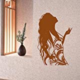 guijiumai Vinile Adesivo Donna Parrucchiere Beauty Interior Living Art Modern Home Decoration Stickers F 6 42X59CM