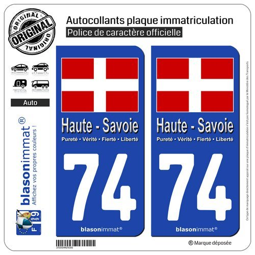 Automobilia Badges, Insignes, Mascottes Hearty 74 Haute-savoie Departement Immatriculation 2 X Autocollants Sticker Autos